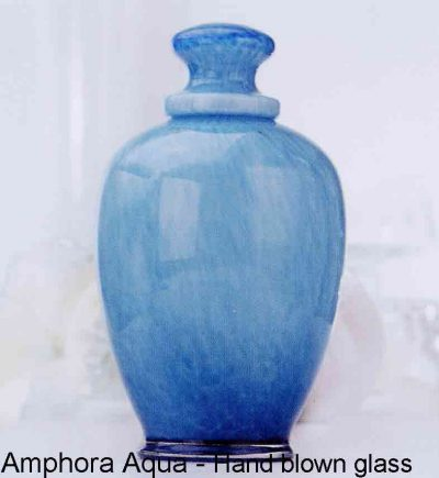 Amphora Aqua Handblown Glass Urn