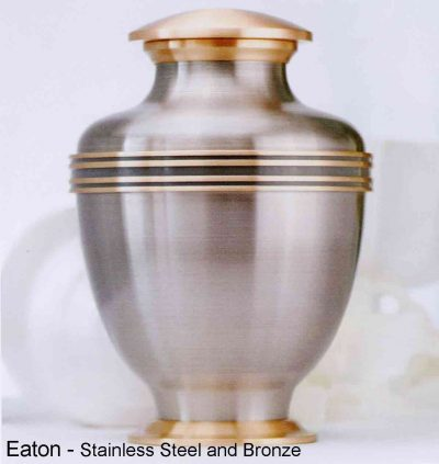 Eaton, steel and bronze urn